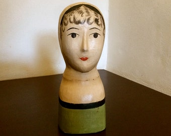 FRENCH HANDPAINTED MANNEQUIN Paper Mache Ladies' Hat Stand French Art Deco Style Shop Display Woman's Head Vintage Clothing France 1970's