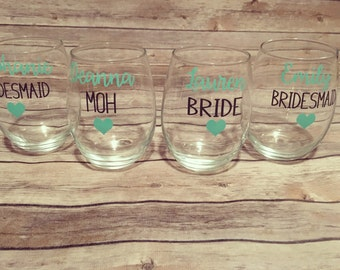 Personalized Stemless Wine Glasses for Bride, Groom, Bridesmaid and Groomsman, Mother & Father of Bride