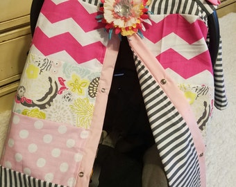 Carseat Canopy Floral Stripe Strip Work Cover READY TO SHIP Car seat canopy