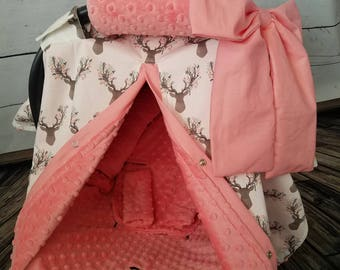 Carseat Canopy Stag Coral Minky Set..Canopy-Liner-Head Support-Arm Cushion-and Strap Covers for Infant Carrier..Buck Floral Minky