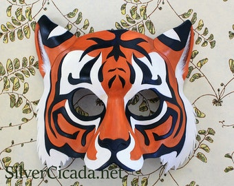 Leather Tiger Mask Made to Order Great for Halloween Burning Man Masquerade Costume LARP Cosplay Mardi Gras Festival