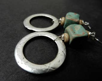 Artisan earrings made with At Home In Taos turquoise square clay beads, bone, metal rings, surgical steel ear wires,  rustic, primitive