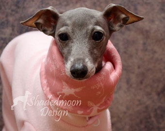 Made to Order - Italian Greyhound -Baby Pink + Blush Jammies with Fairy Print jersey lined Snood/Neck Warmer - for info - see details