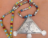 Silver Triangle Tuareg Old Necklace with Old Silver & Colorful Beads