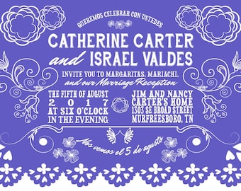 Day of the Dead Wedding Invitations, Papel Picado  Wedding Invitation, Rainbow Wedding, Custom Listing for caetycarter