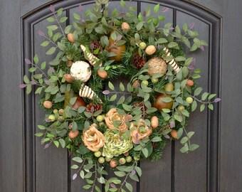 Spring Wreath- Summer Wreath- Grapevine Door Wreath Decor-Earthy-Natural-Fruit-Floral Door Decoration Indoor Outdoor Decor