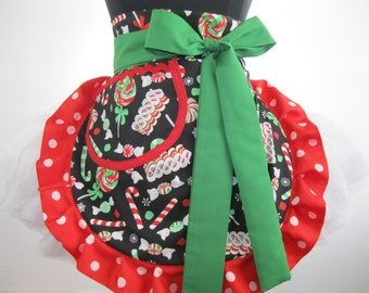 Christmas Candy Apron with Polka Dots