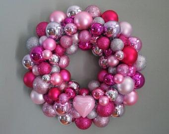 Valentine's Wreath PINK Silver MAGENTA VALENTINE'S Day 1 heart Ornament Wreath
