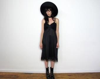 BLACK SLIP Vintage LINGERIE Lace Net Nylon Grunge 70s Slip Dress Womens Size L
