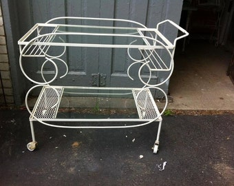 Vintage white wrought iron BAR CART mid century