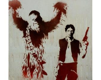 Star Wars Art HAN SOLO and CHEWBACCA Original Painting 20 x 20 Disney Hero Pop Art Street Art Graffiti Inspired Artwork Graffiti on Canvas