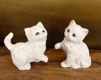Vintage Homco White Kitten Figurines - Porcelain Bisque Kitty Cat Figurines