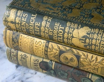 Antique Book Collection. Victorian Library. Literature and Poetry. Circa 1890's. George Eliot. Shades of Green and Gold.