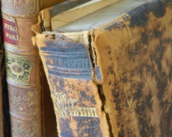 Antique Shabby Leather Victorian Photo Album.