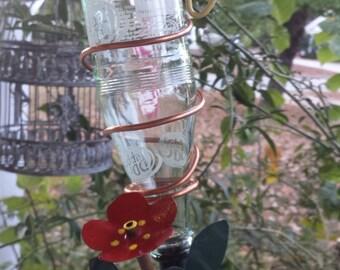 Hummingbird feeder, copper wire bird feeder, copper flower glass birdfeeder