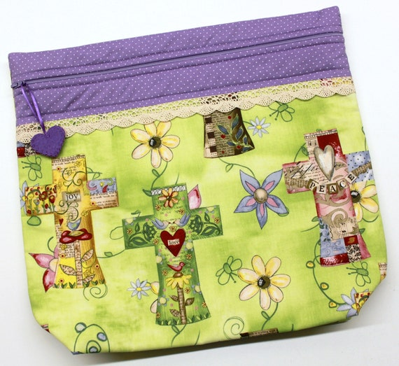 MORE2LUV Faith Hope Love Cross Stitch Embroidery Project Bag