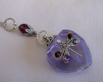 Vintage Inspired Purple Dragonfly Crystal Heart Perfume Bottle Necklace