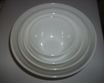 Full Set of 4 Pyrex White AKA Opal Mixing Bowls