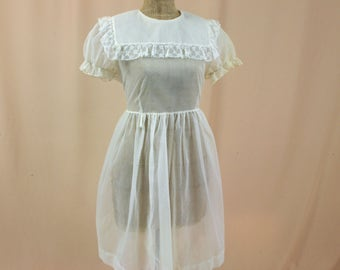 Vintage Childs Cream Dotted Swiss Dress * Girls Easter Dress * Flower Girl Dress * Cream Sheer Swiss Dot Dress * 1950s Dress * Lane Bryant