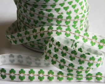 "St. Patty's Day FOE 5 yards 5/8"" Fold Over Elastic Green & White w/ Gold Foil Design Shamrock Clovers Headband Connector Party Favor Ties"