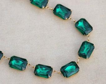 Large Emerald Green Rhinestone Jewel Tennis Necklace,Large Octagon Anna Wintour Style,Statement,Crystal Choker,Statement,Bridal,Wedding,Gift