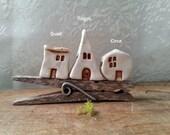 miniature porcelain house, geometric house, fine art collectible house figurine, tiny house, stucco, fairy garden house, terrarium decor