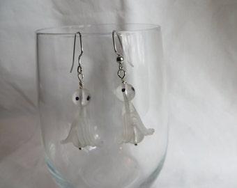 Ghost Earrings, earrings, ghost, dangle, white