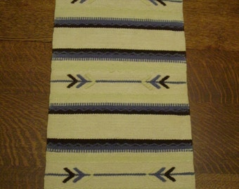 Vintage Woven Wool Table Runner, Scandinavian 11 x 24 Excellent