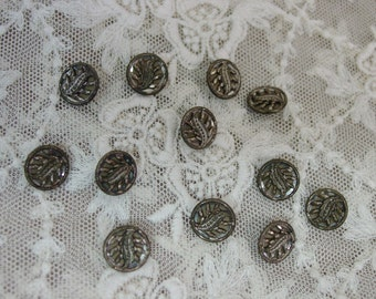 """Set of 12 Antique Buttons, Sparkly Little Beauties, 1/2"""""""