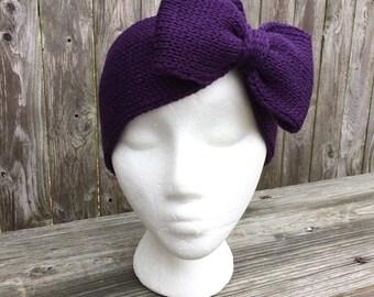 Womens gift, Knit Headband with Bow, Bow Headband, Adult Headband