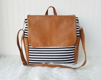 WATERPROOF Black Striped 2-in-1 Convertible Backpack Diaper Bag