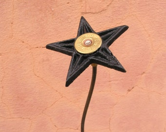 Metal Flower Cast Iron Star Garden Stake Office Art Tall Vase Filler Country Decor Texas Flower Gift 4 men Shotgun shell bullet junk flower