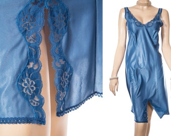 Delightful incredibly soft glossy airforce blue sateen nylon and delicate inset floral design lace detail 80's vintage full slip - 3922