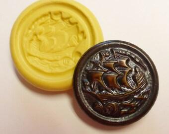 Antique button mold- Viking Ship, flexible silicone push mold, PMC, Art Clay Silver, fimo, Sculpey, resin, ceramic, jewelry mold V9