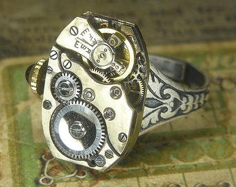 Women's STEAMPUNK Ring - Torch SOLDERED - Vintage Silver  Watch Movement w Original Jeweled Crown - Birthday Anniversary Gift - Cool Patina