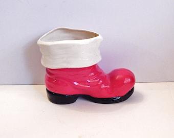 Vintage Santa Boot - Red Santa Boot - Ceramic Santa Boot - Santa Boot Planter