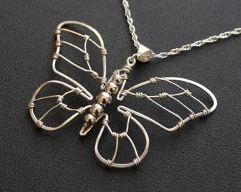 Silver Butterfly Pendant Necklace - Wire Wrapped Jewelry - Spring in Flight - Mother's Day Gift