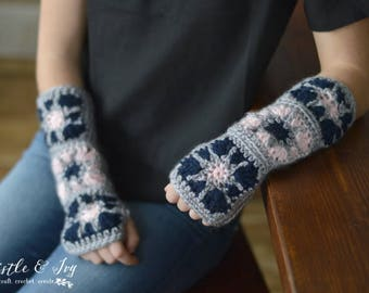 Starburst Granny Square Arm Warmers Crochet Pattern PDF DOWNLOAD