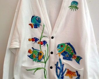 Button-front tropical fish cardigan handpainted for adults