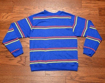 vintage 80s stripe sweater royal blue yellow red stripe jumper ski sweater 1980 lightweight sweater primary colors M