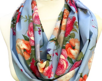 Infinity / Loop Lightweight Scarf - Light Blue Floral Scarf