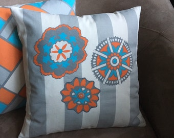 Cottage Style Pillow Cover Orange and Turquoise Medallions on Gray White Stripe Pillow Cover