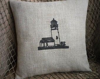 Nautical Pillow Lighthouse Pillow Hand Stitched Linen Pillow // Beach Decor // Coastal Decor // Beach House Decor