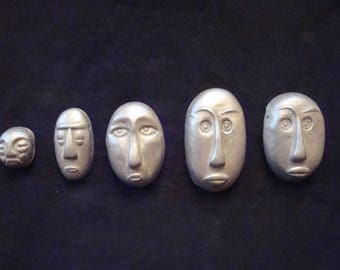 Lot of 5 Tribal Face Mask Pendants of Silver Burnished Polymer Clay