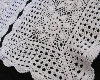 Set of 2 Vintage Handmade White Crocheted Doily Rectangle 11 x 16 (#48B)