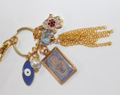 hamsa keychain, hamsa key chain, keychain, hamsa charm keychain, Gold keychain, Rose charm, key chain, evil eye keychain collection charm