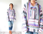 50% OFF SWEATER SALE Vintage old school rainbow poncho // purple striped poncho // Medium poncho // hooded poncho // striped poncho // heavy