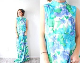 30% OFF EASTER SALE Vintage blue floral maxi garden dress // sleeveless boho modest floral dress // light blue floor length dress / 1960's m