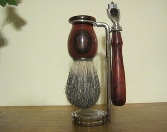Shave Set with Shave Brush, Gillette Mach 3 razor handle, Stand with Hand Turned Cocobolo Wood Set