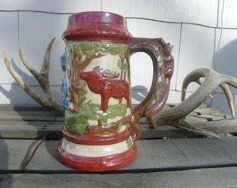 Rustic Vintage • Handpainted German Stein Thewalt Beer Mug | Hand Painted Paint Pottery Ceramic | Made in Germany